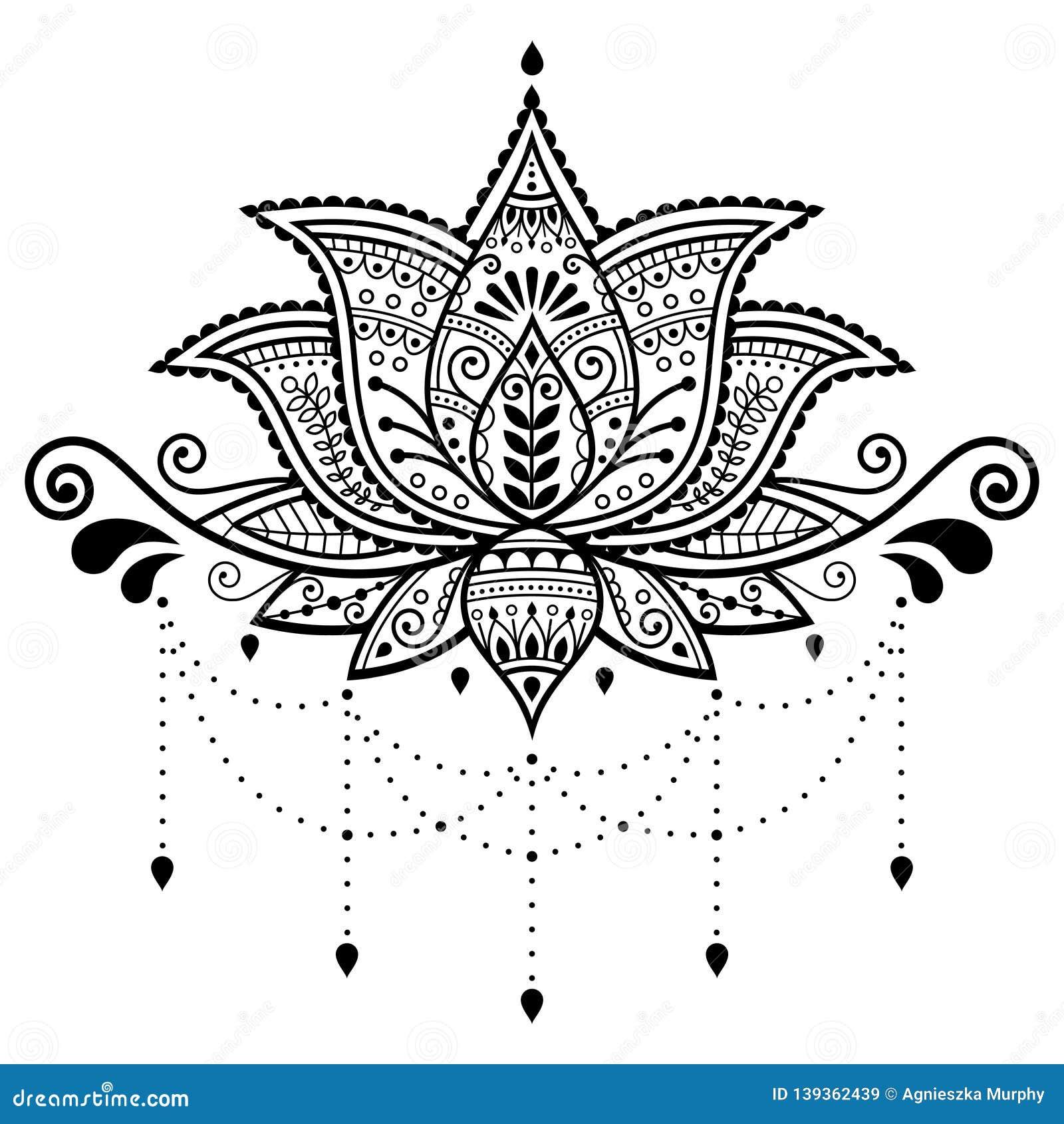 Lotus Flower Vector Design Indian Ornamental Pattern Mehndi Henna