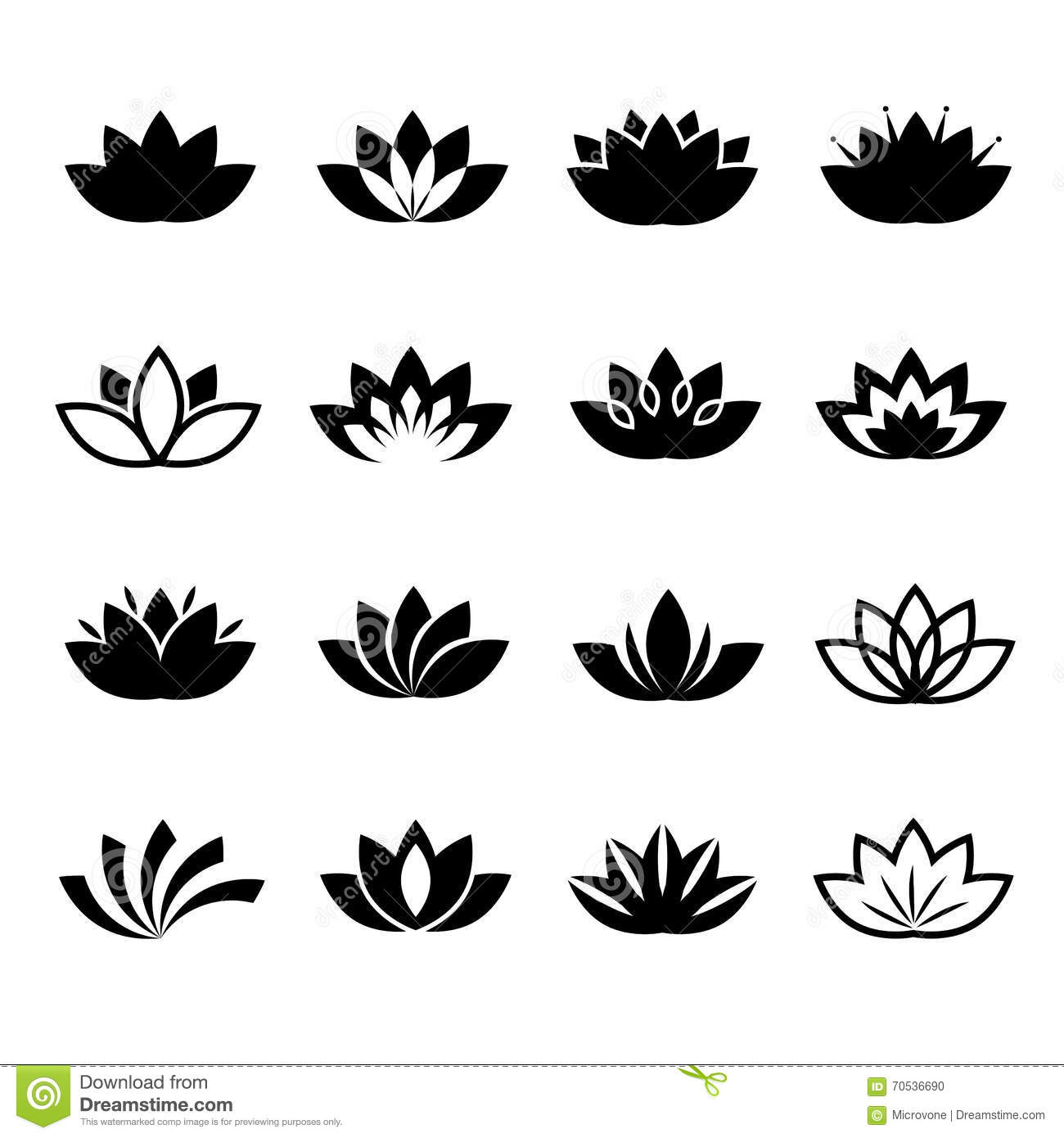 Lotus Flower Vector Icons Set Stock Vector Image