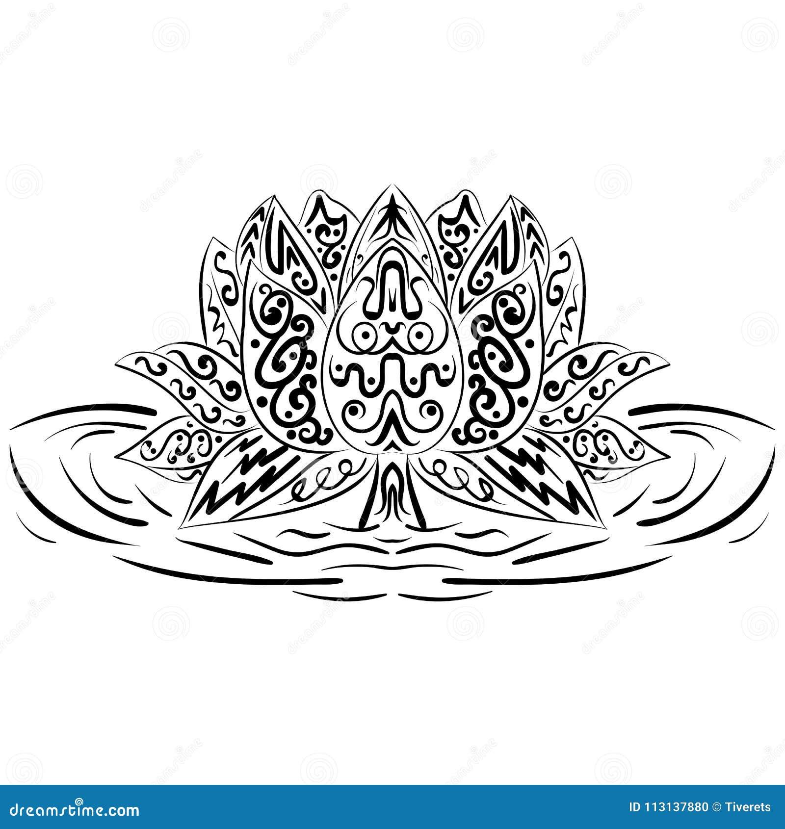 Lotus Flower Water Lily Zentangle Element Stock Vector