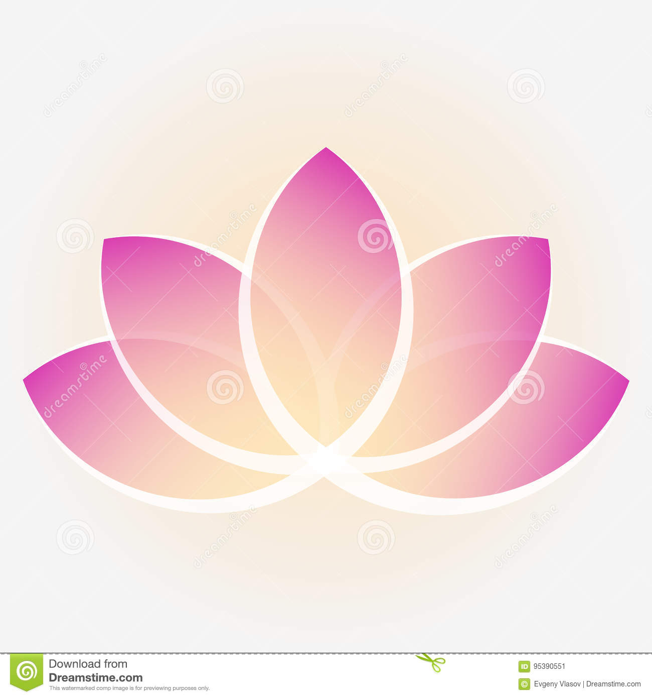 A Lotus Flower With Yellow Purple Petals Image For Logos Stock