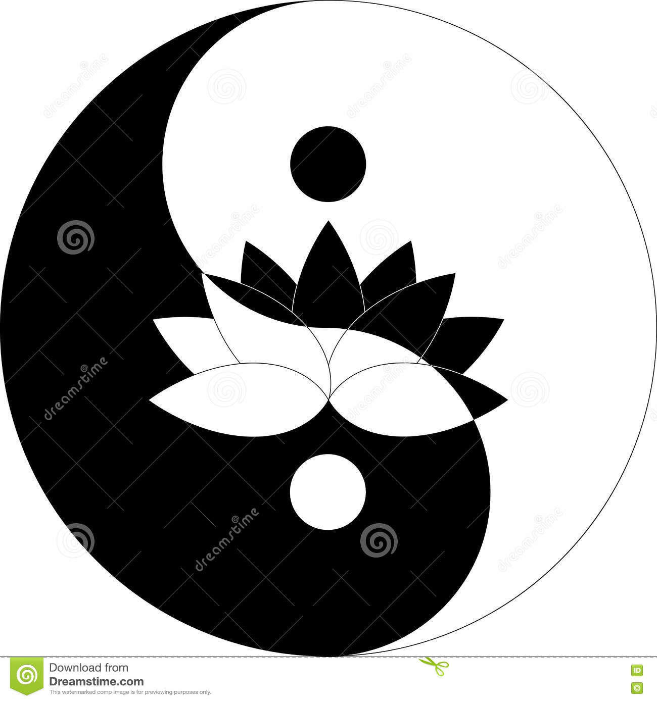 Lotus Flower In Yin Yang Symbol Black And White Stock Vector