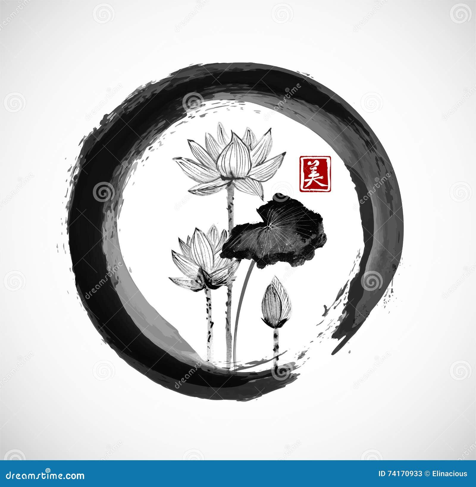 Lotus Flowers In Black Enso Zen Circle. Stock Vector