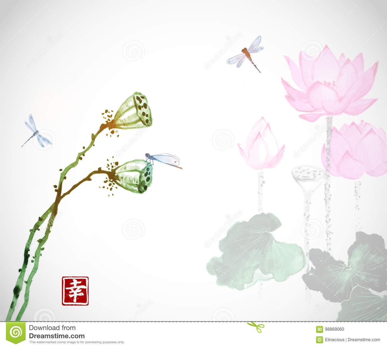 617fbd45e Lotus flowers and dragonflies on white background. Traditional oriental ink  painting sumi-e,