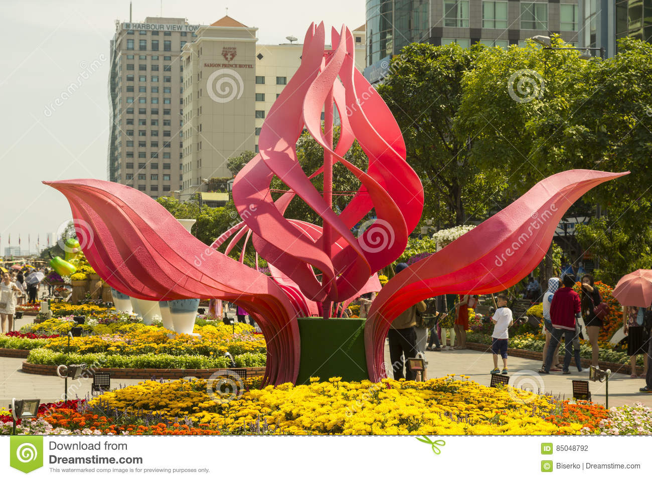 Lotus Flowers Style Decorations In Ho Chi Minh City Editorial