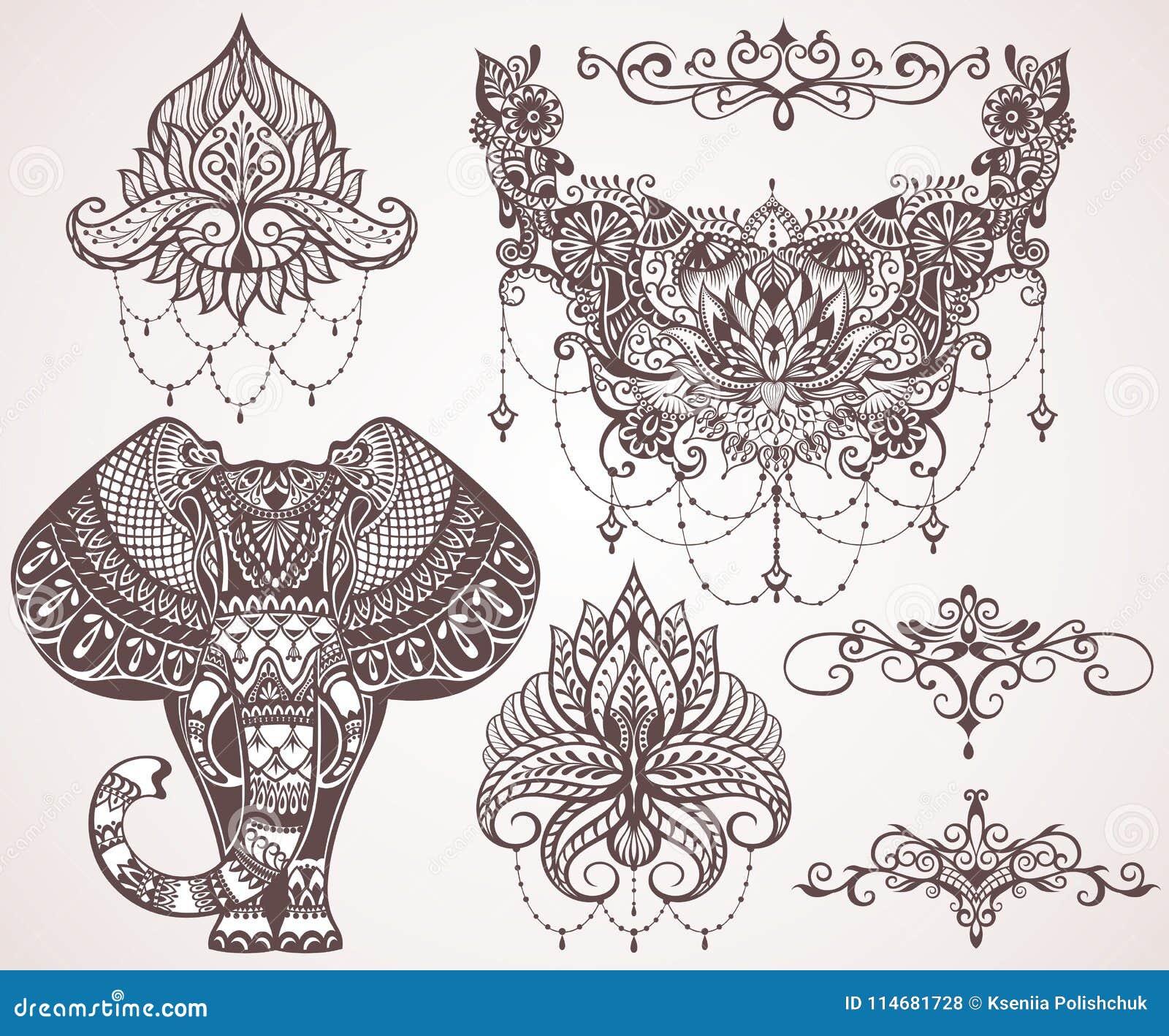 Lotus hamsa, elefant, Ganesha Mihendi stil