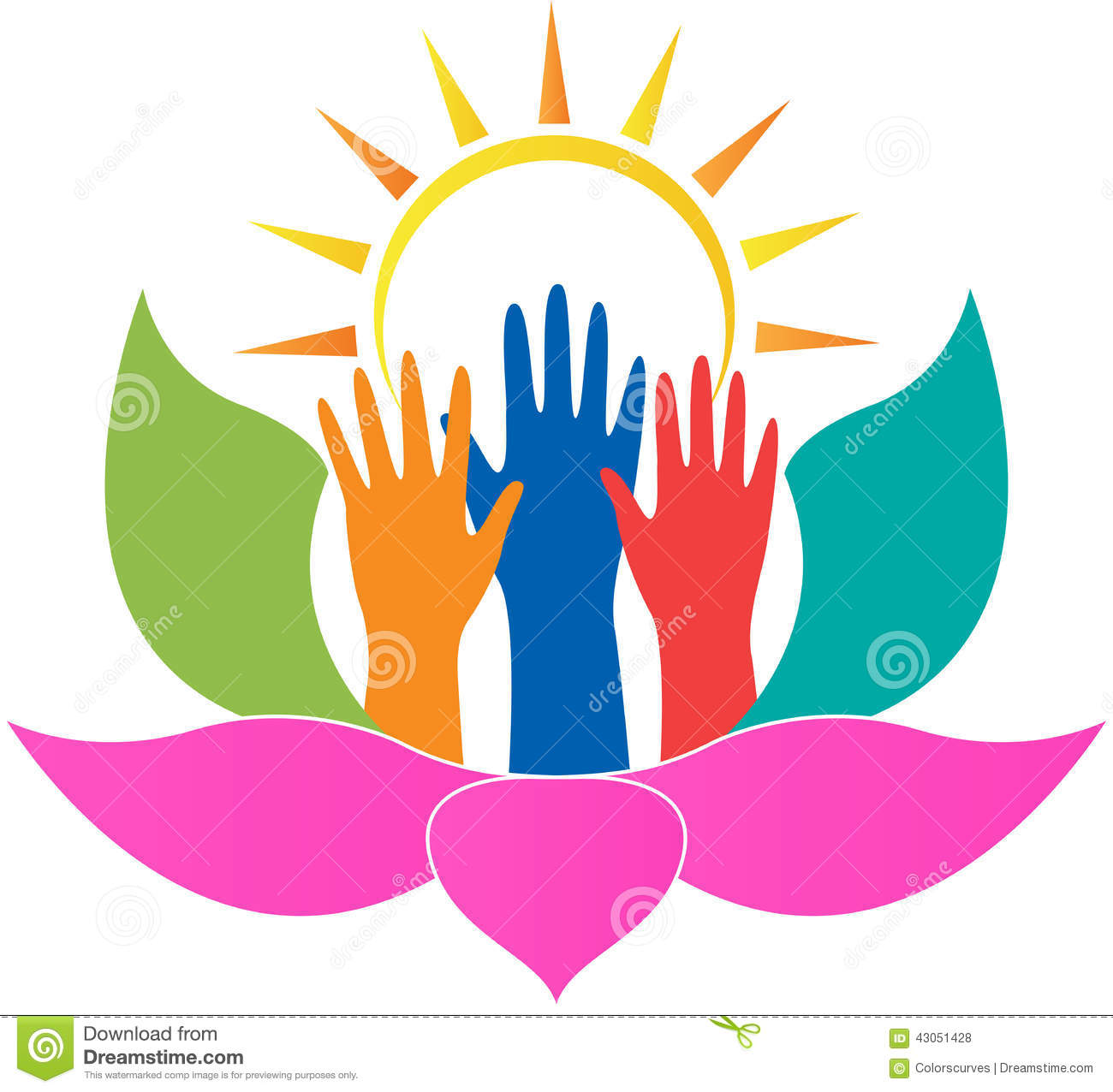 Lotus Hands Stock Vector Image 43051428
