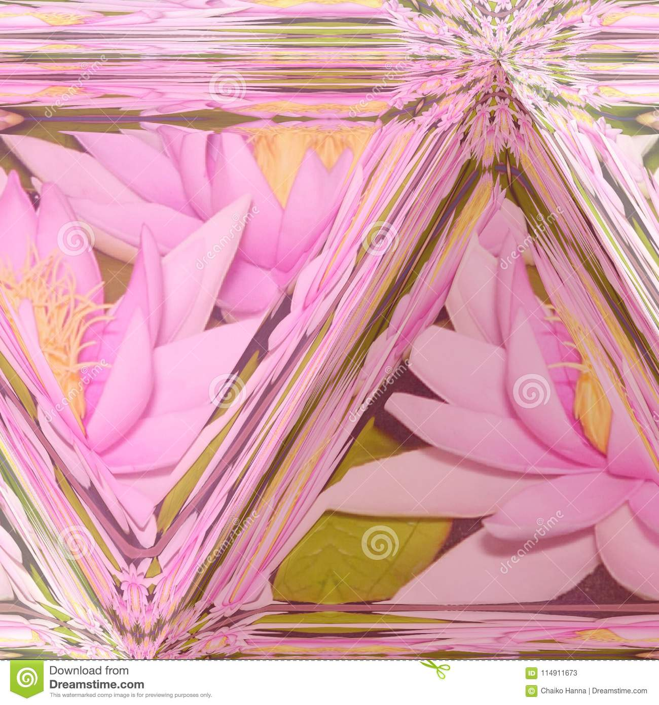Lotus Flower Illustration And Stained Glass Background In Pastel