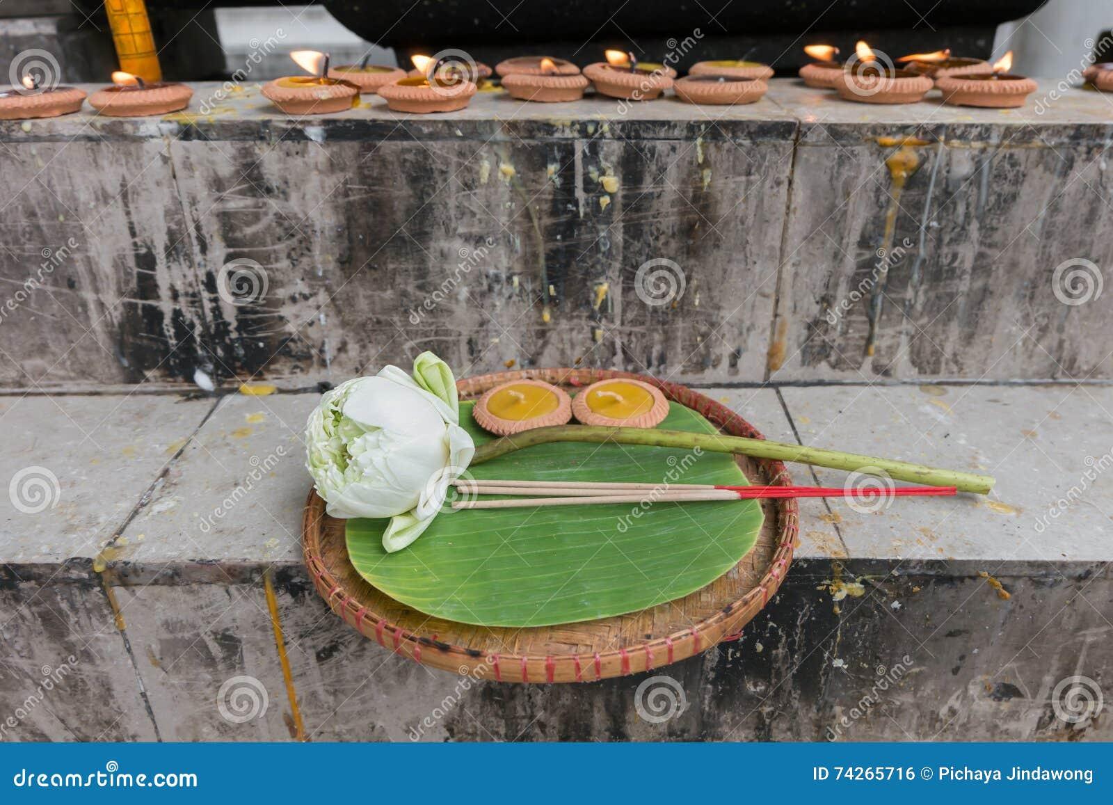 Lotus, Incense Sticks And Candles Set For Praying Buddha Stock Photo