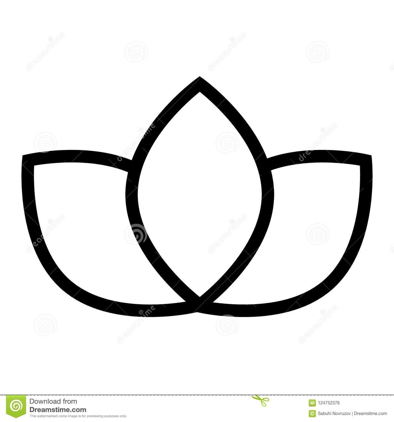 Lotus Line Icon Floral Vector Illustration Isolated On White