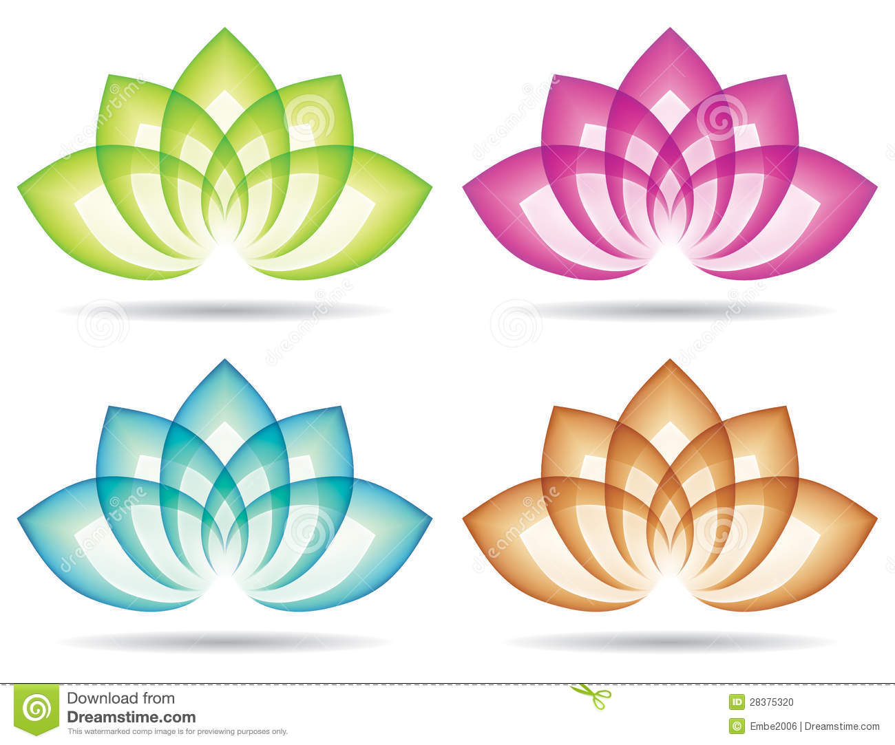 Various coloured lotus logos logo icon with leaves.