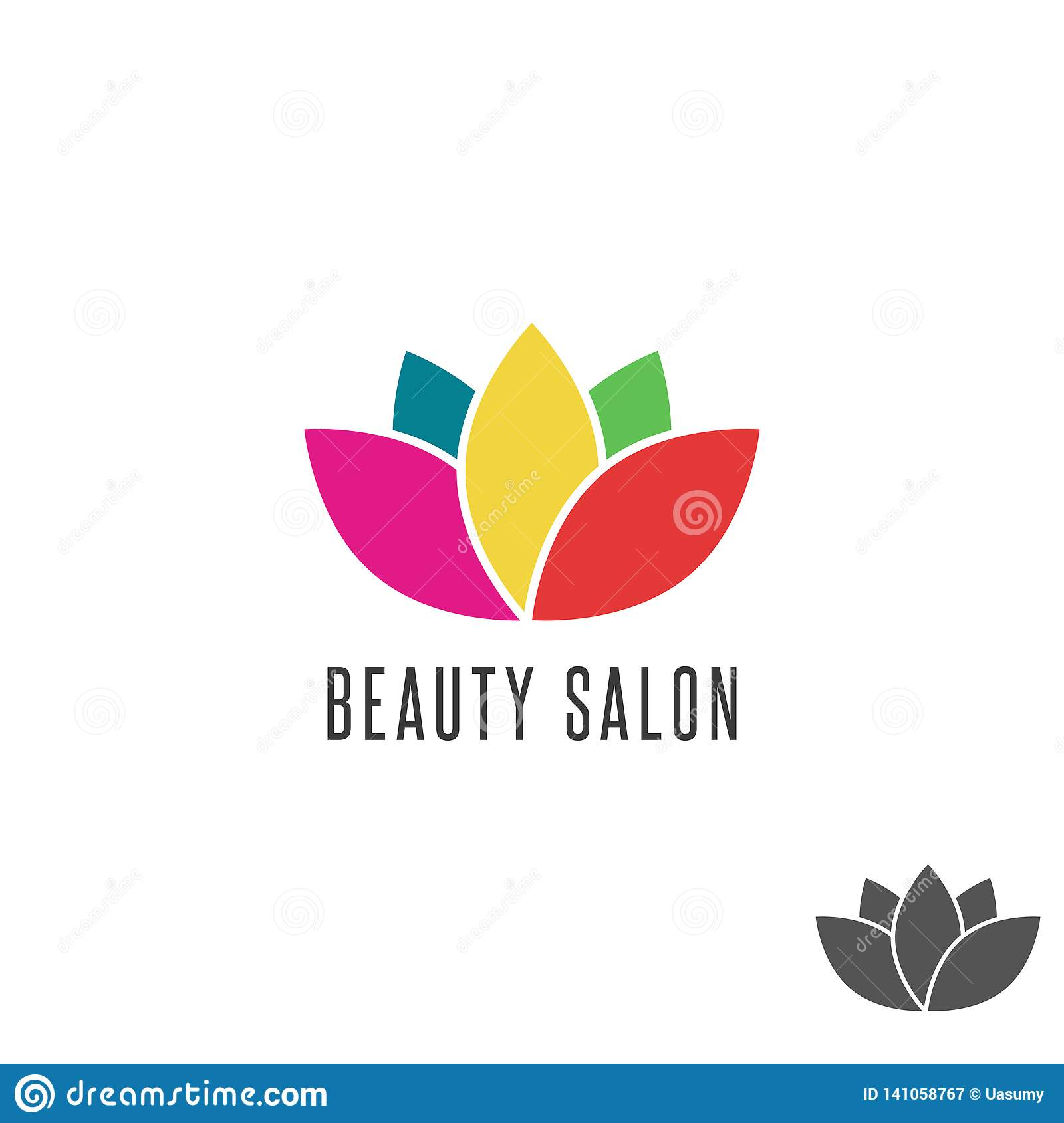 Lotus logo flower colorful beauty salon emblem mockup, floral oriental abstract sign yoga
