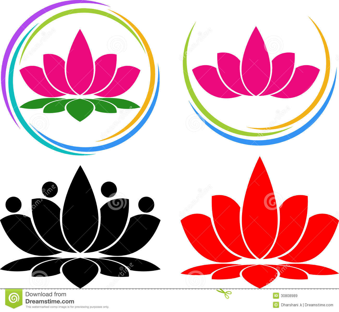Illustration art of a lotus logo with isolated background.