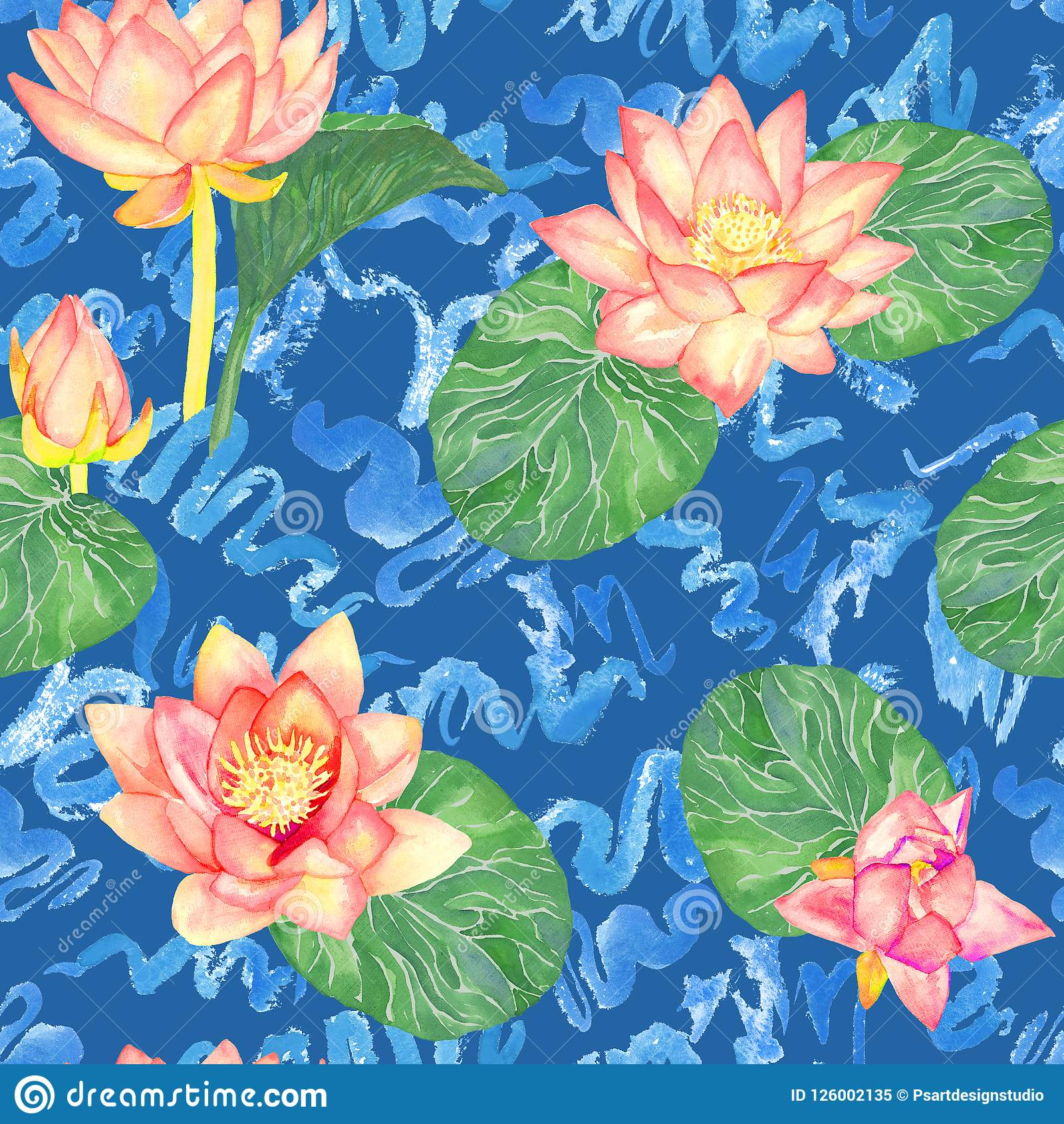 Lotus Pink Flowers And Leaves And Curly Water Waves Seamless