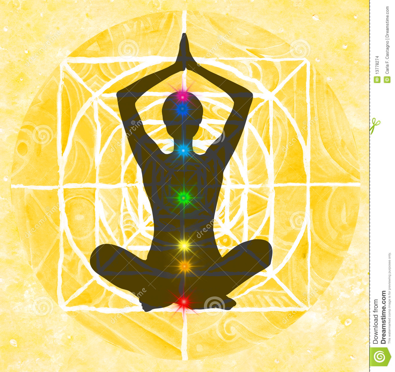 Lotus Pose And Chakra Points Stock Images Image 13778274