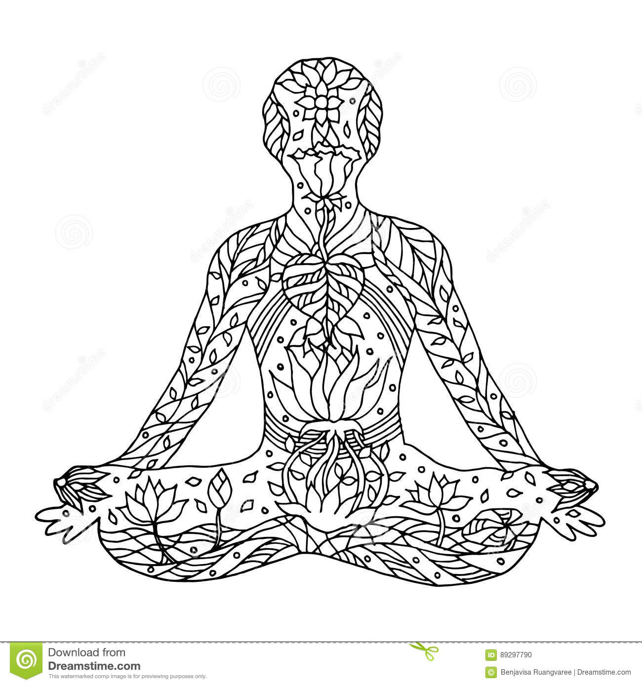 Download Lotus Pose With Mudra Hands Yoga Position Posture Hand Drawn Stock Vector