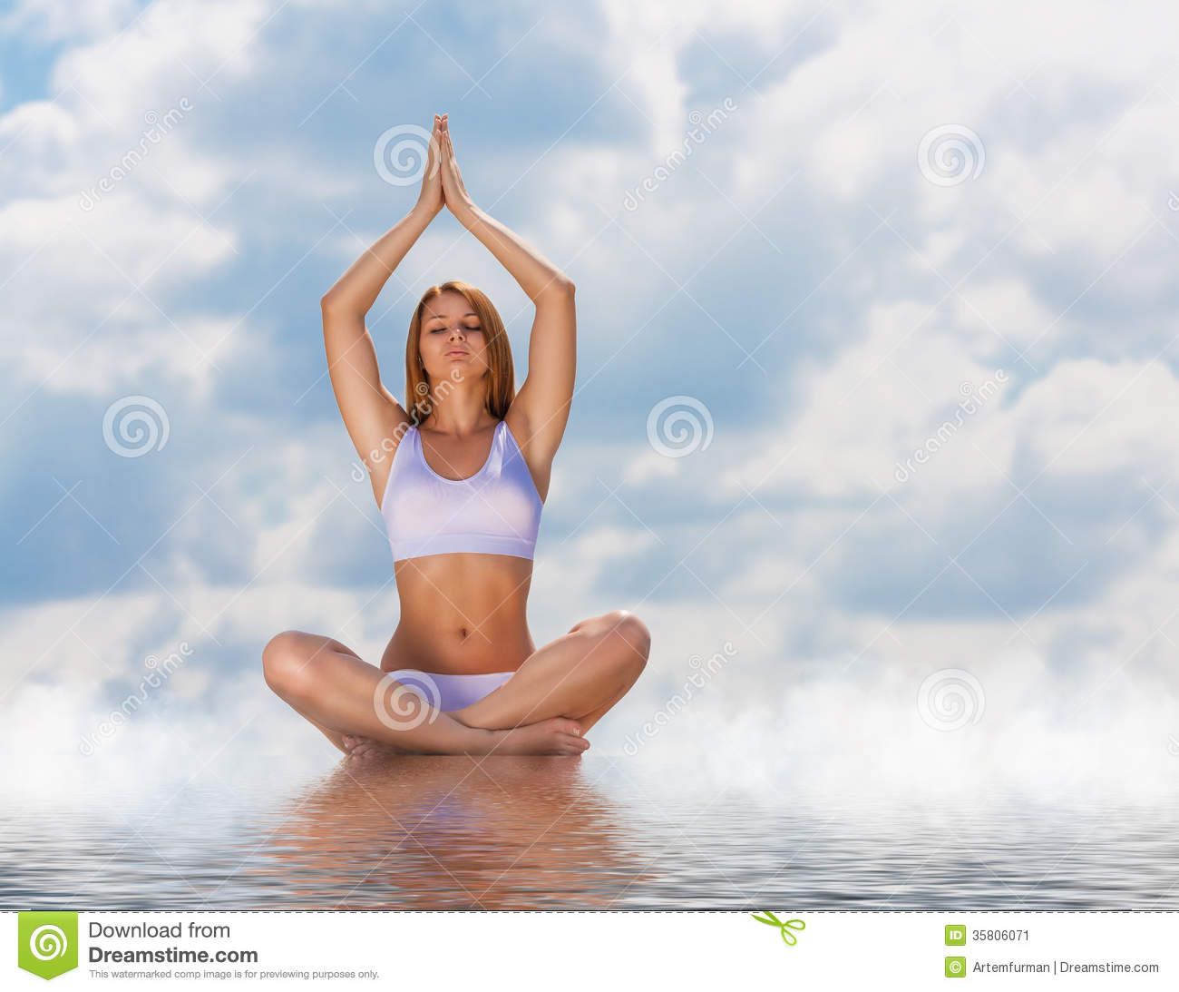 in the lotus posture stock image image of exercise