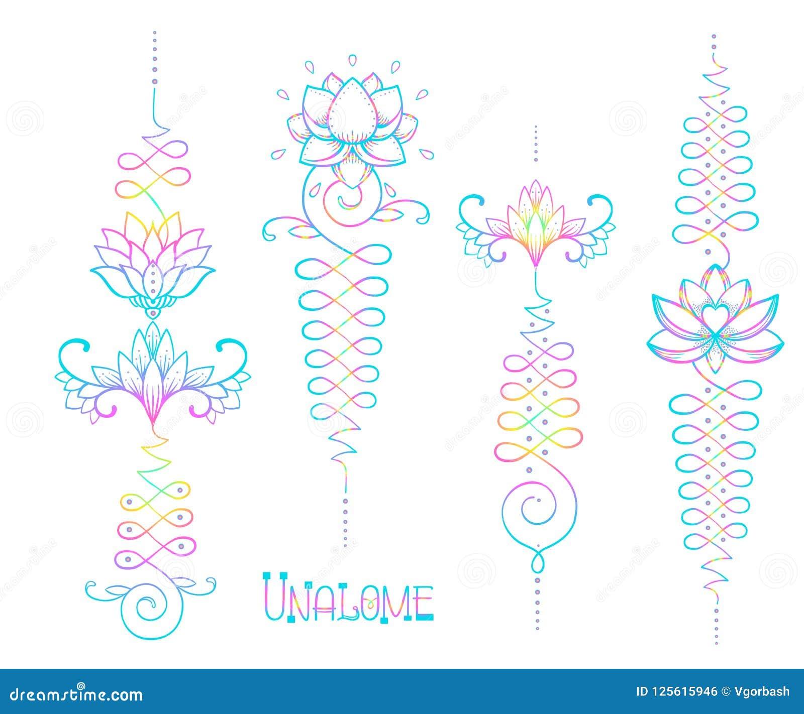 Lotus and Sacred Geometry. Unamole hindu symbol of wisdom and pa