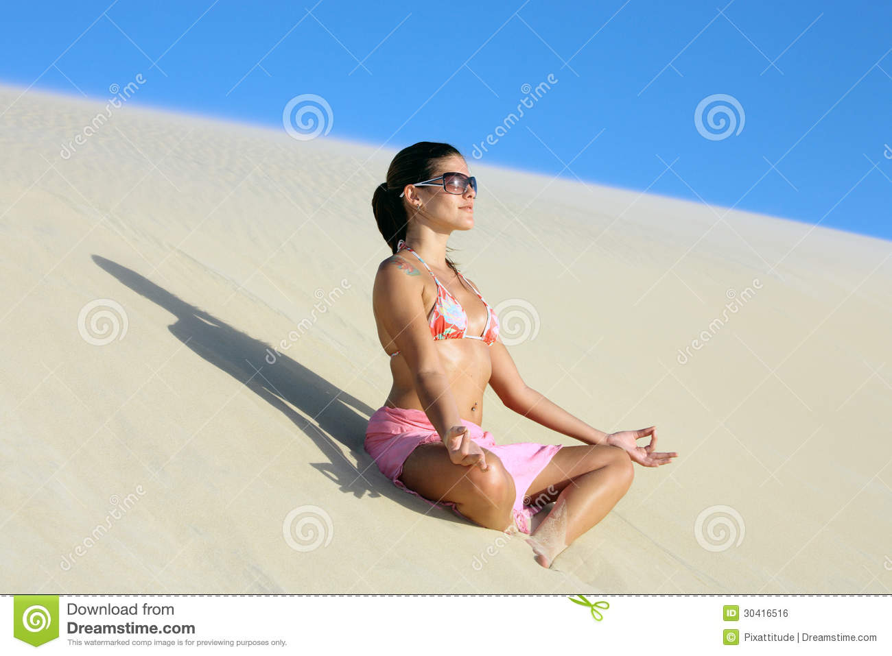 Lotus Posture Lotus On The Sand Dune Royalty Free Stock