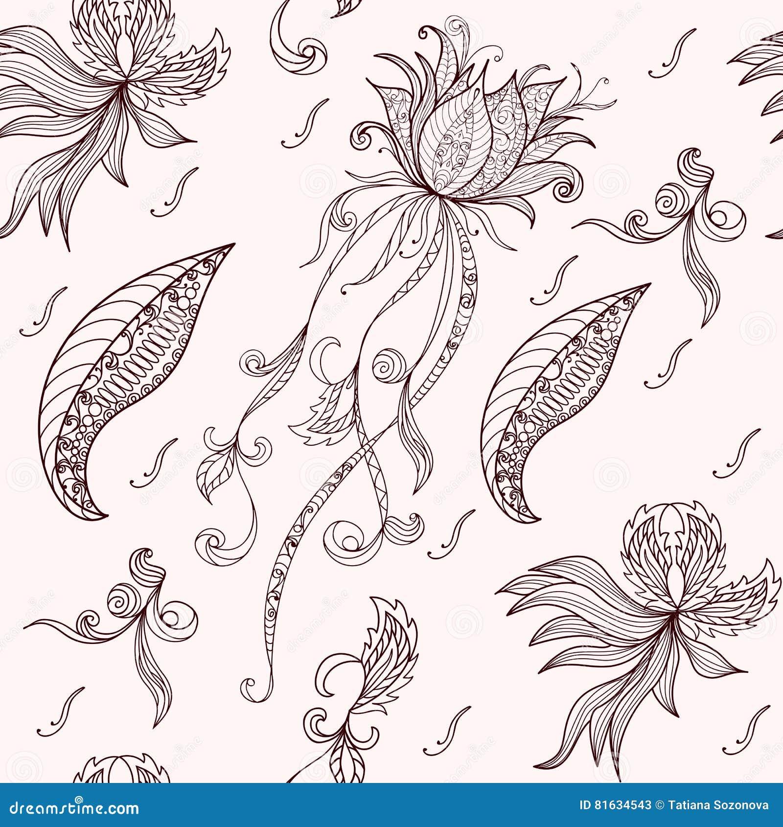 Lotus Seamless Pattern Stock Vector Illustration Of Lotus 81634543