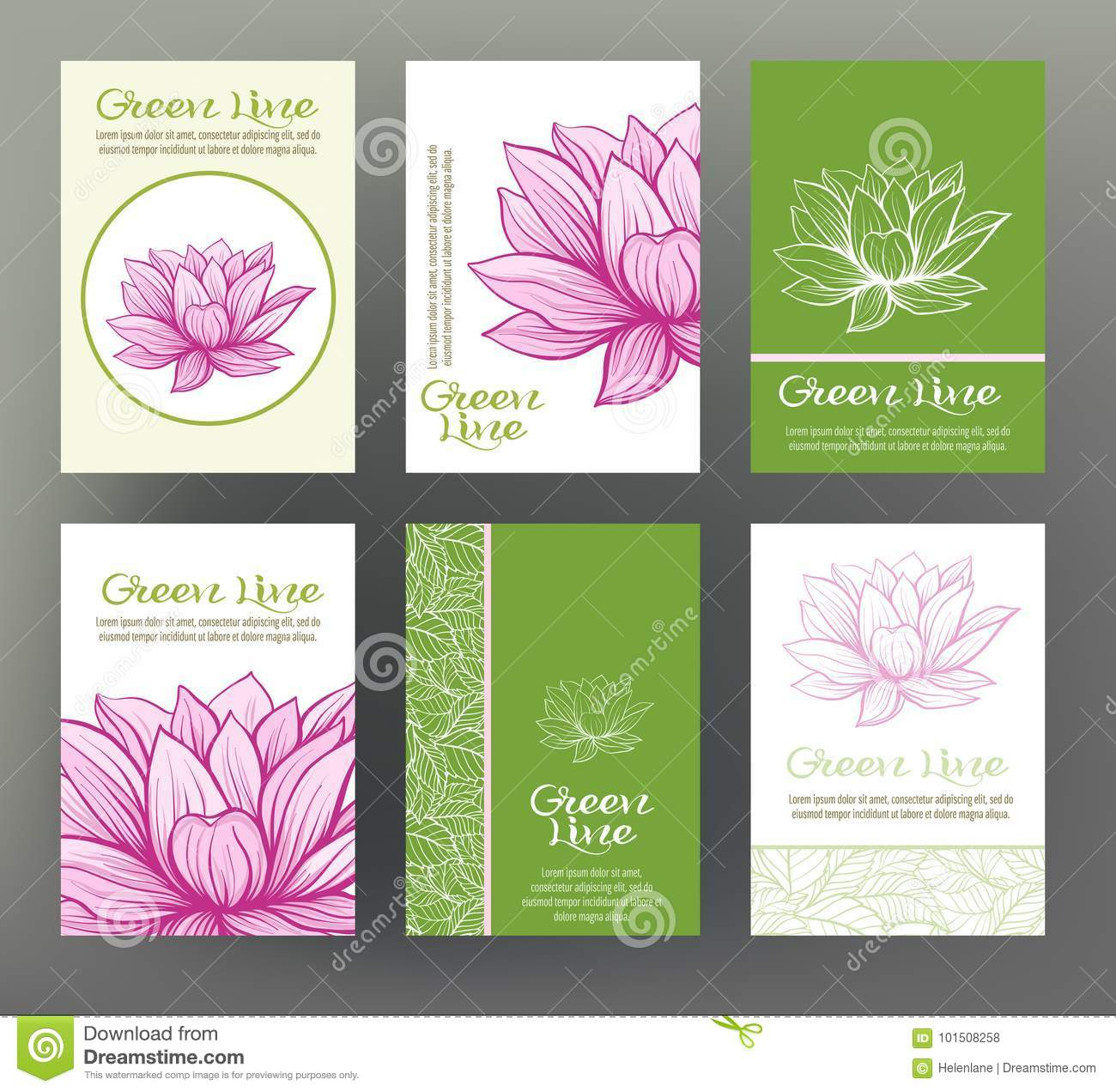 lotus set of six cards with traditional japanese flowers for t