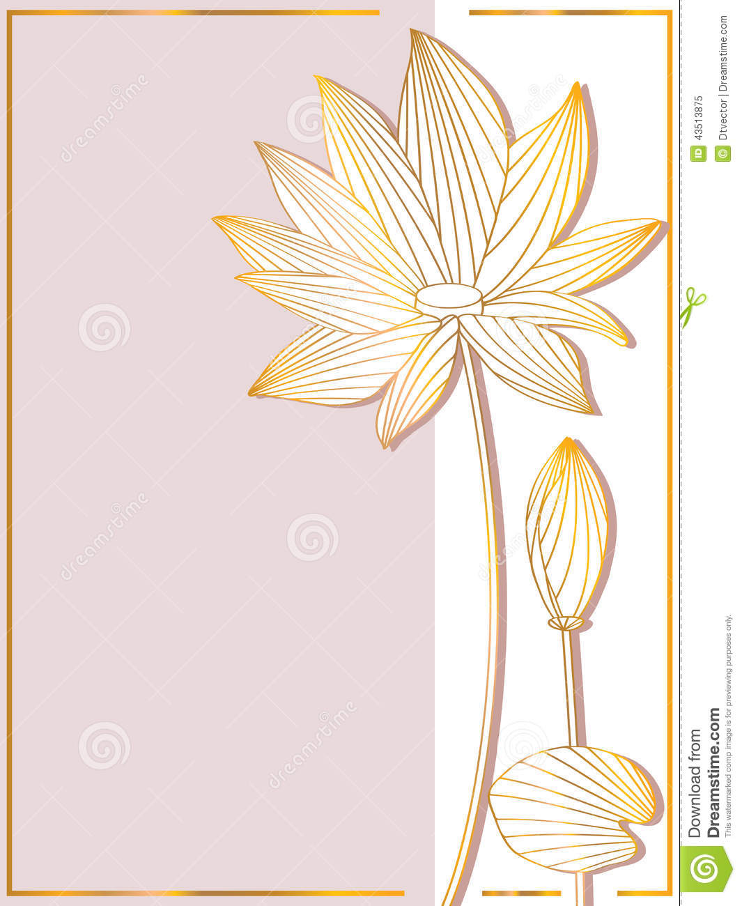 lotus side card stock vector illustration of cards card 43513875