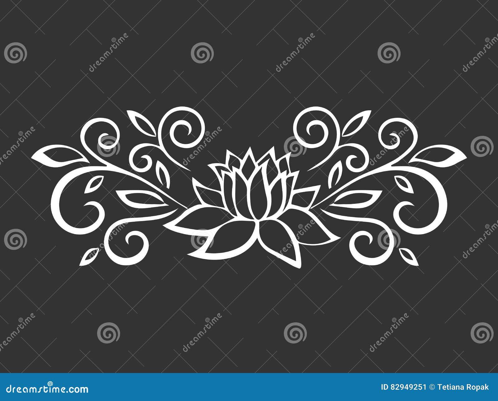 Lotus Sketch Plant Motif Flower Design Elements Vector