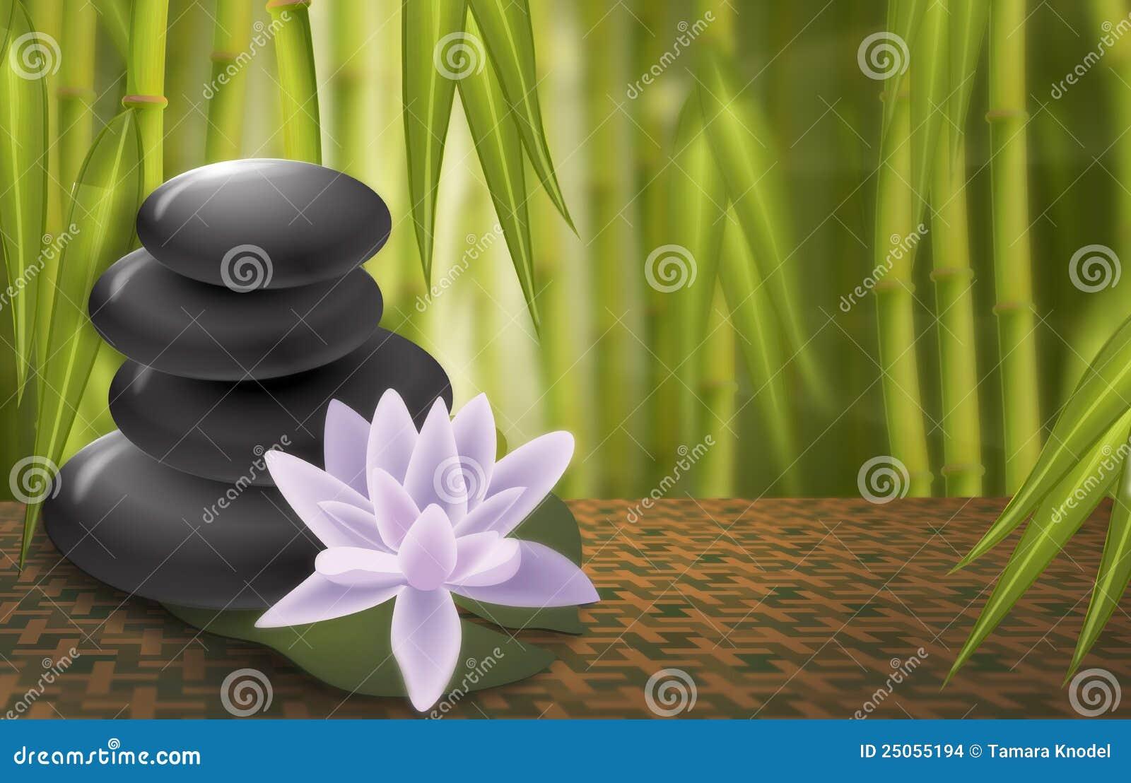 Lotus Spa Rocks Bamboo Background Stock Images Image