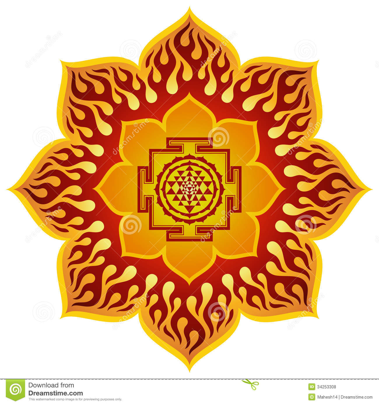 Lotus Sri Yantra Design Illustration 34253308 - Megapixl