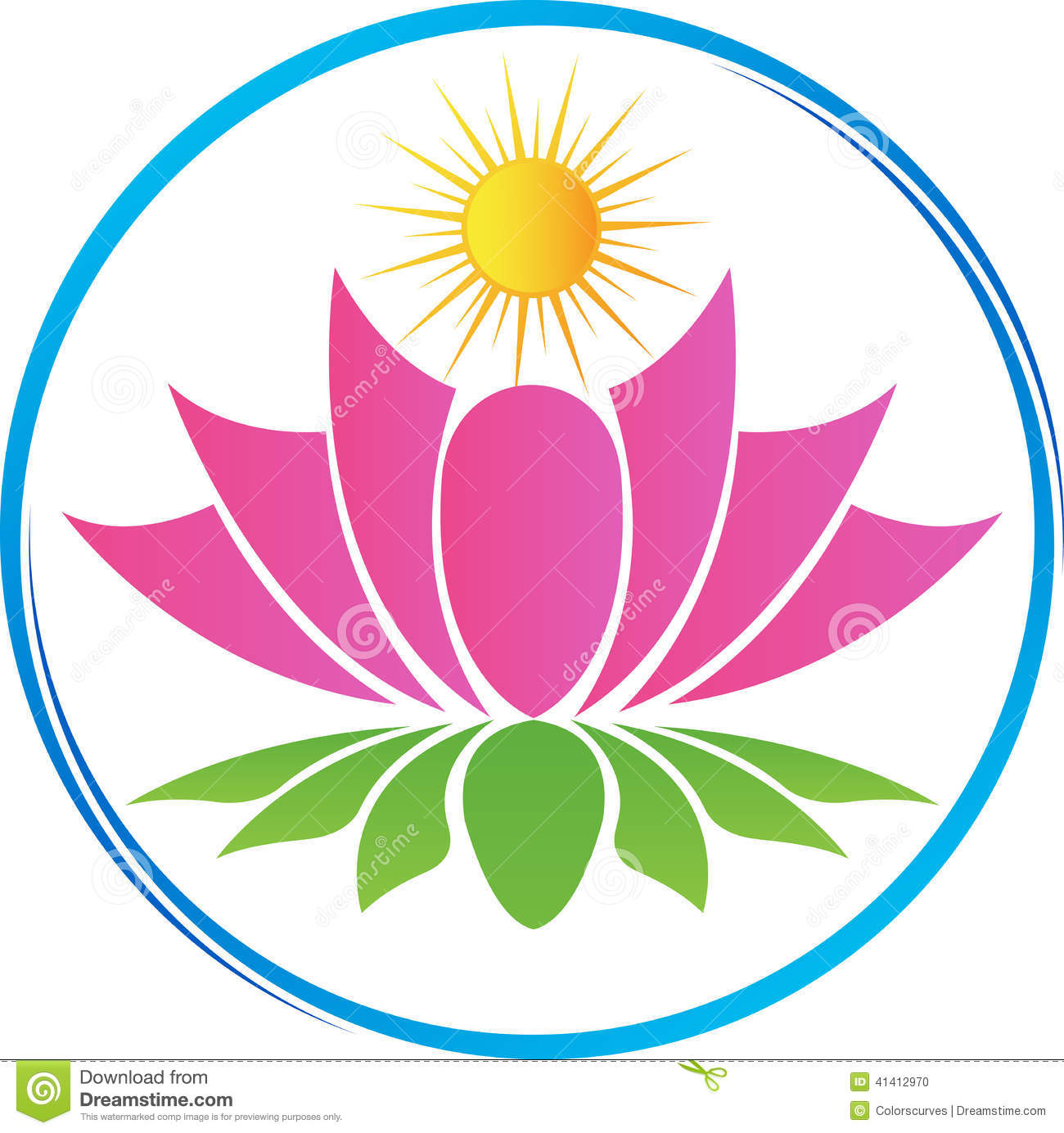 Lotus With Sun Stock Vector Image Of Equilibrium Artwork