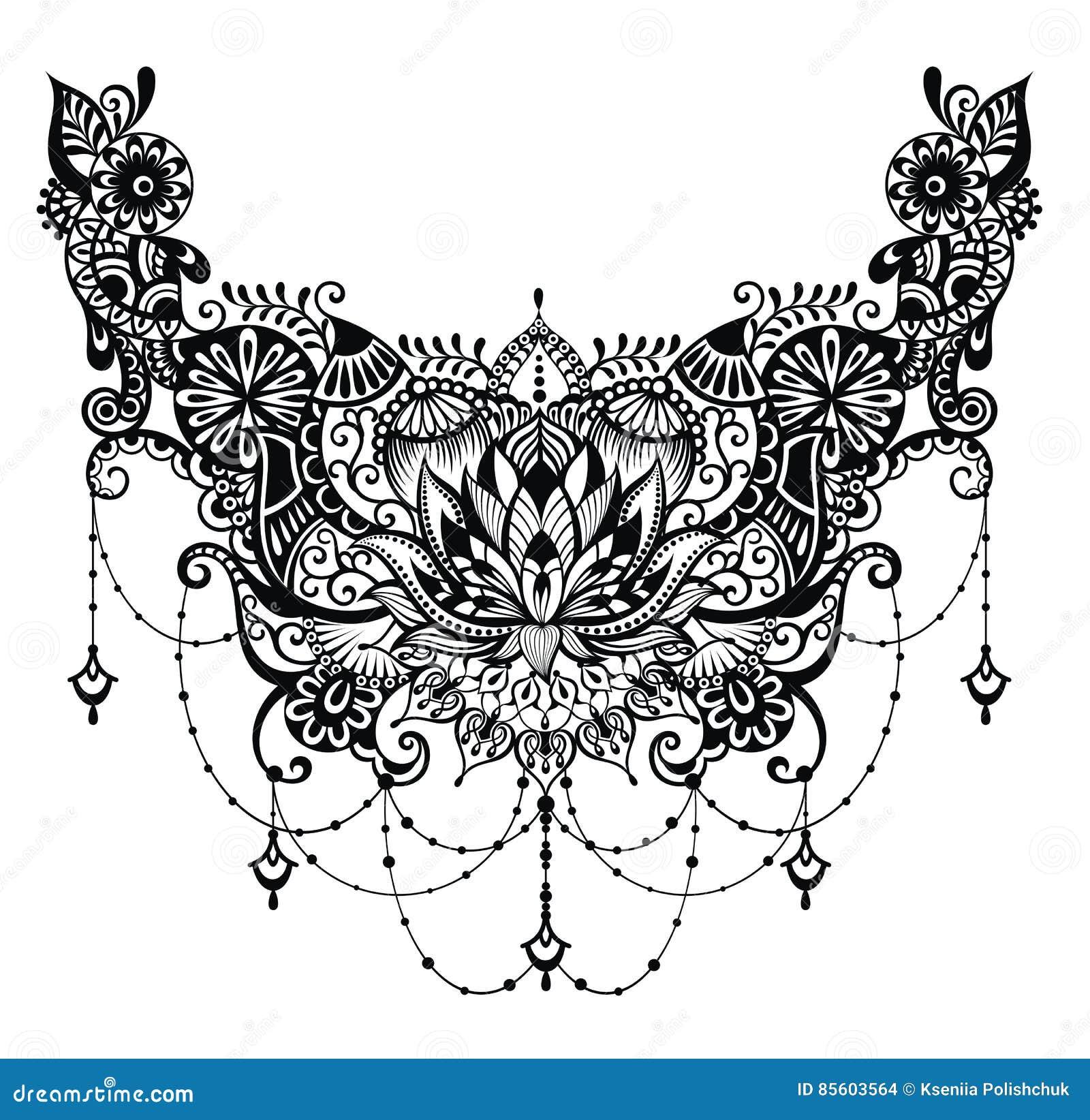 Lotus Tattoo Stock Vector Illustration Of Ethnic Doodle 85603564