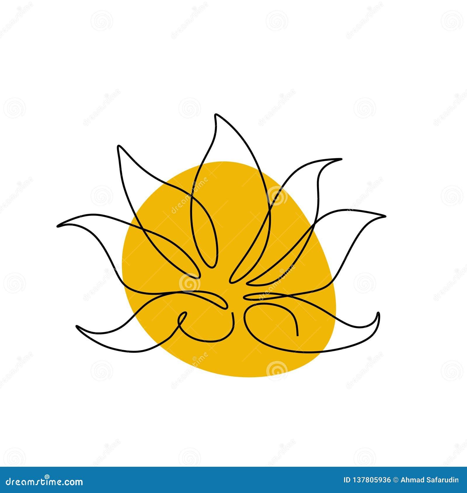 Lotus Un Conception Minimale Dicône De Vecteur De Dessin Au