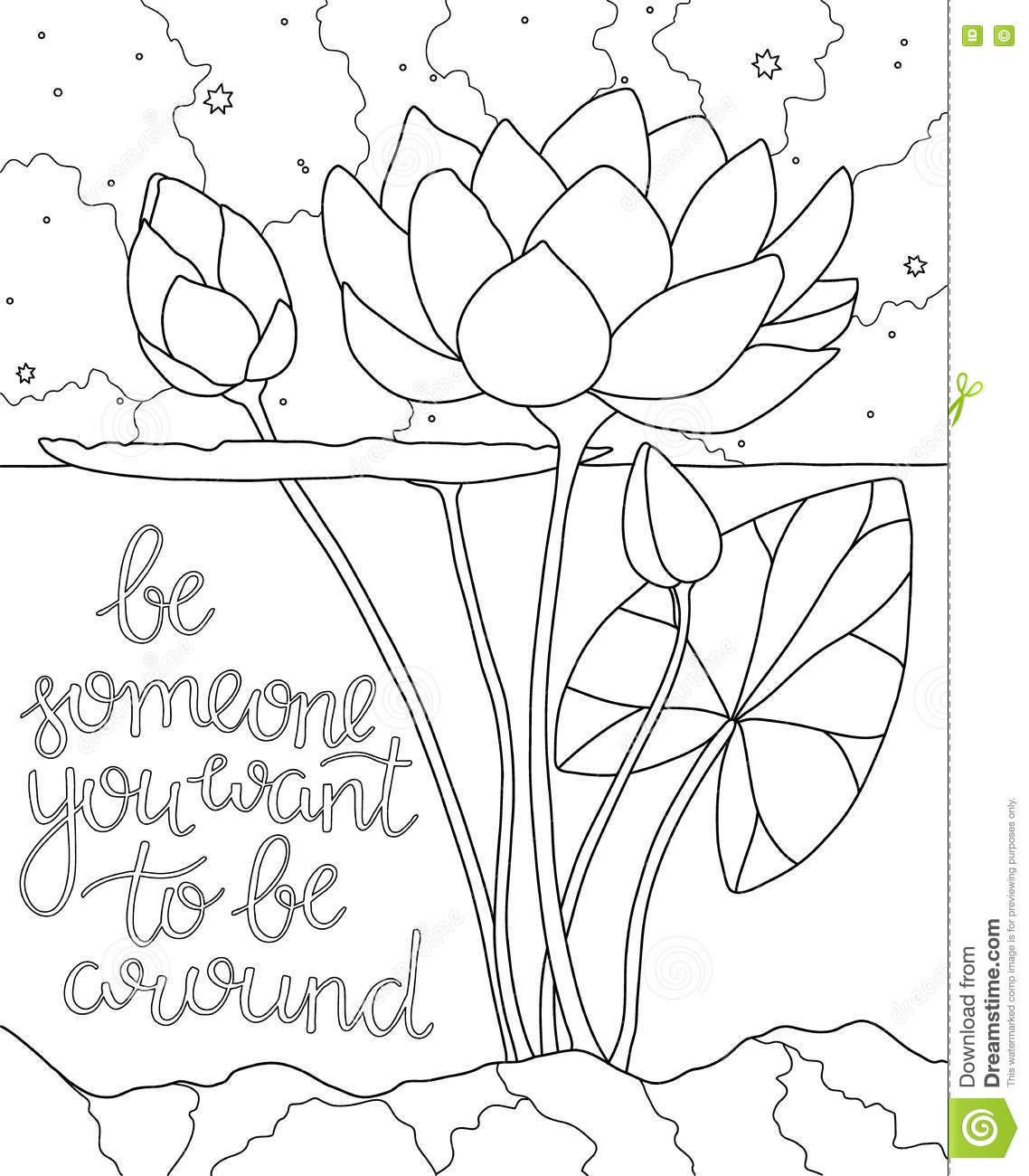 lotus in the water coloring book page stock vector image 76827690
