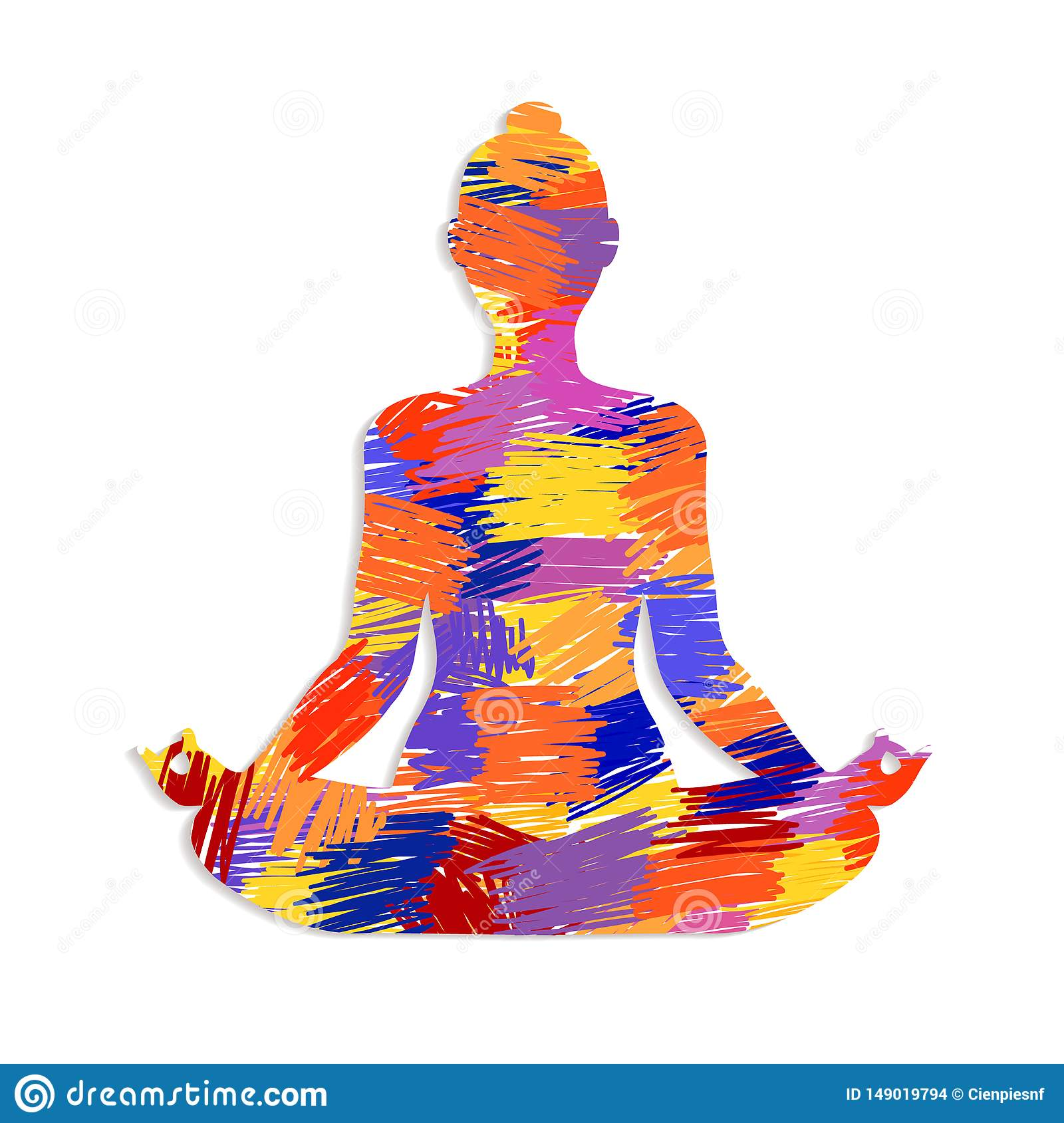 Lotus Yoga Pose Concept With Colorful Abstract Art Stock Vector Illustration Of Health Body 149019794