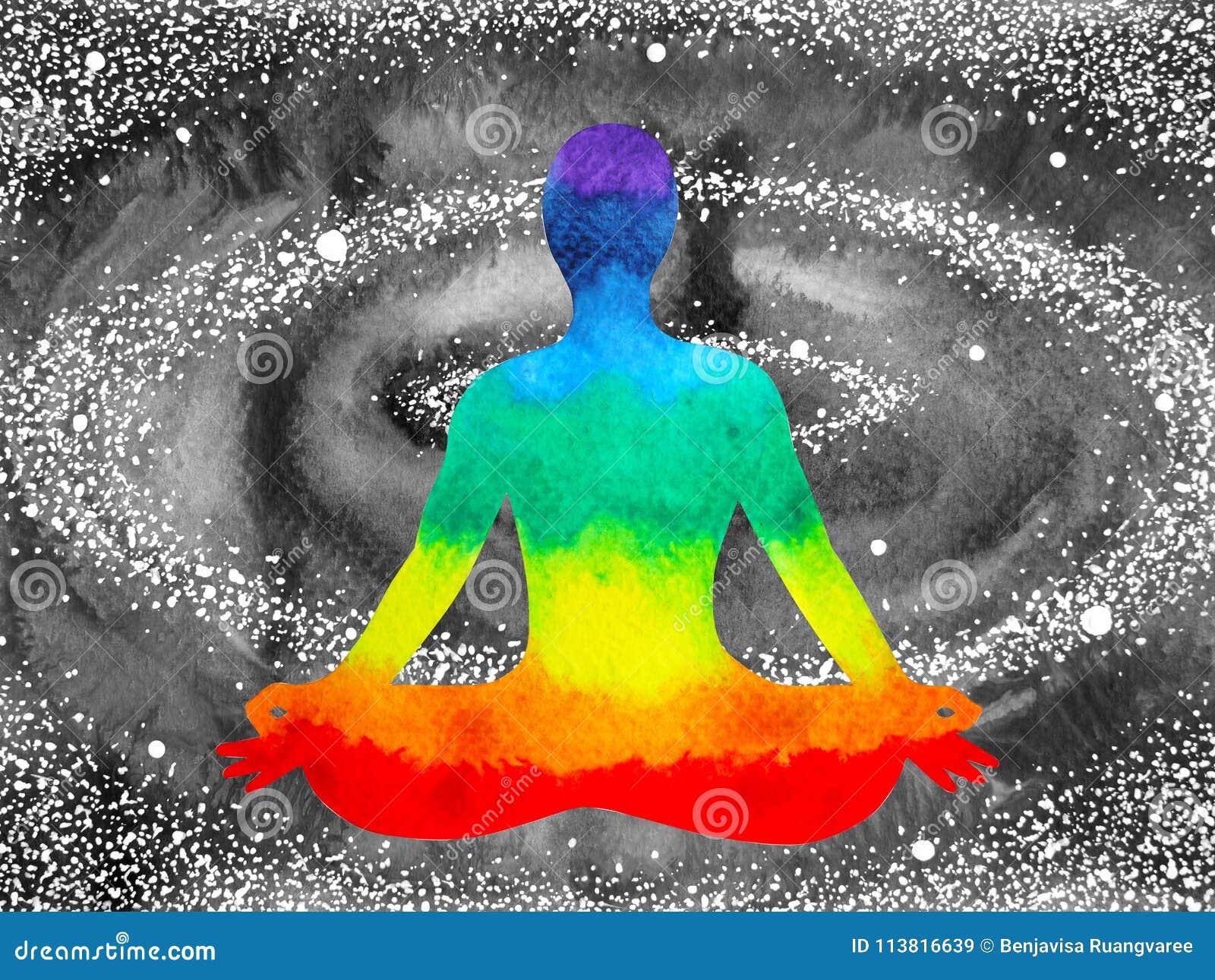 Lotusblomma för chakraen för 7 färg poserar mänsklig yoga, den abstrakta världen, universum
