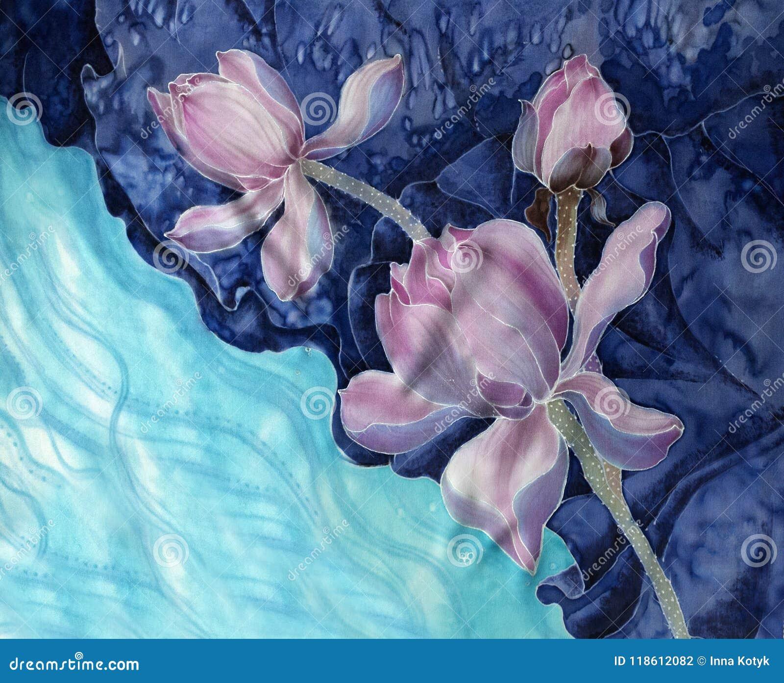 Lotuses batik Decoratieve samenstelling van bloemen, bladeren, knoppen Het gebruik drukte materialen, tekens, punten, websites, k