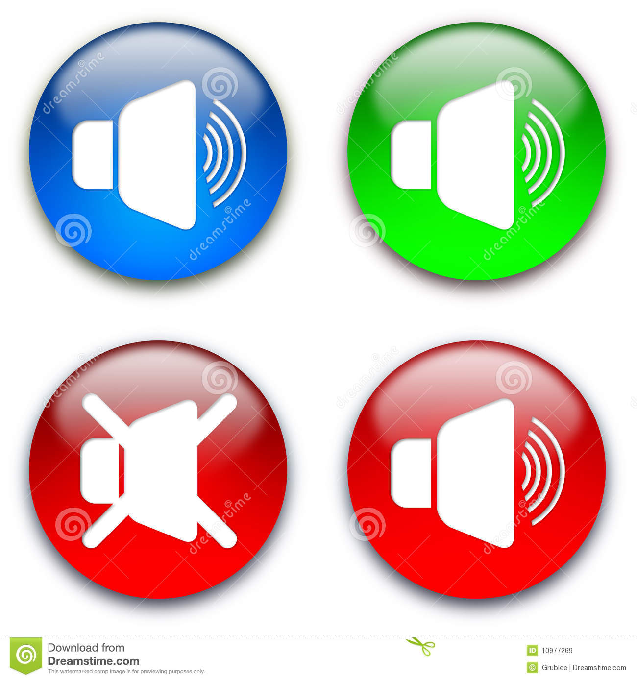 Loud Speaker Mute Buttons Royalty Free Stock Images - Image: 10977269