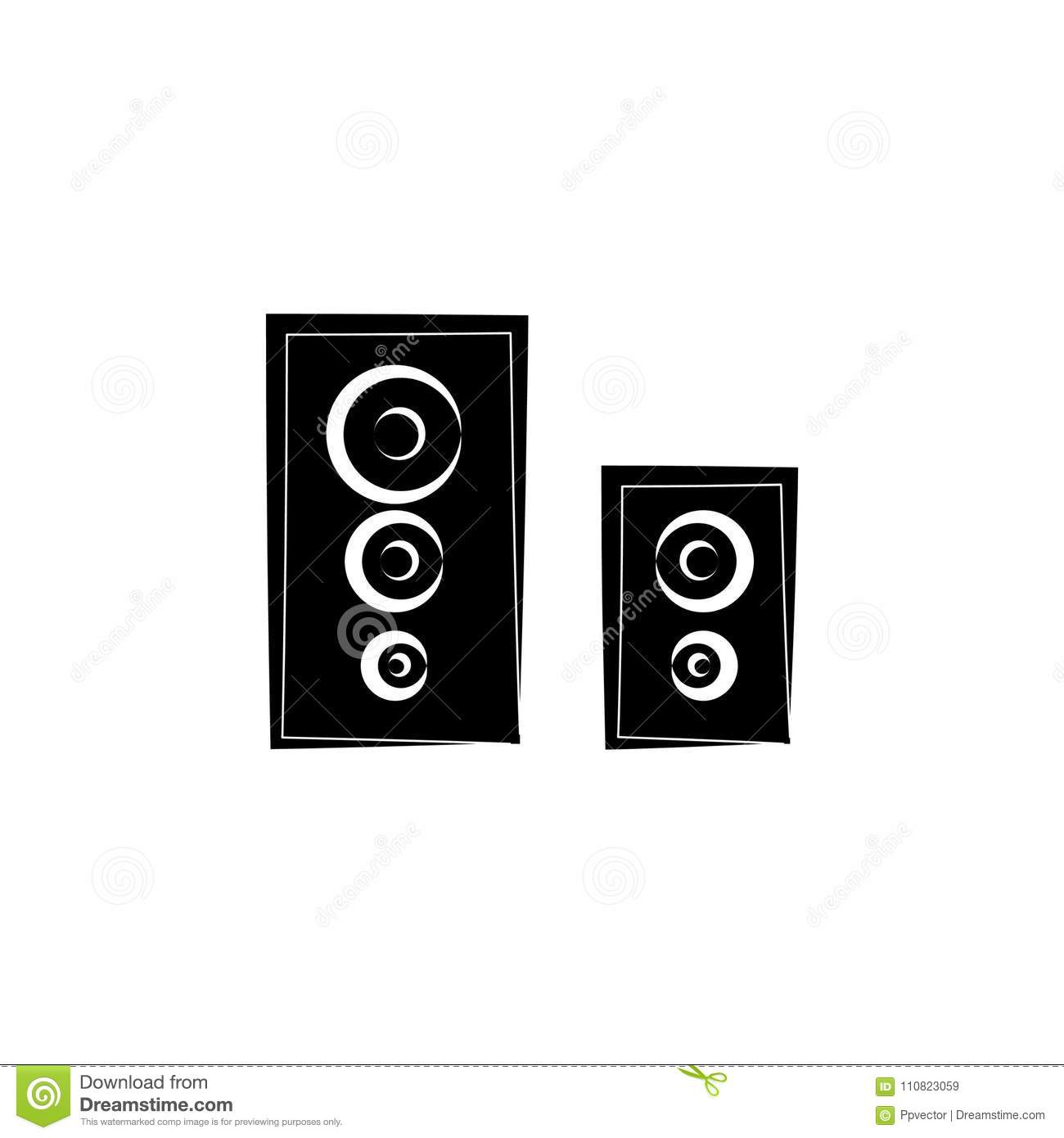 Loudspeakers Icon, Audio Music Stock Illustration