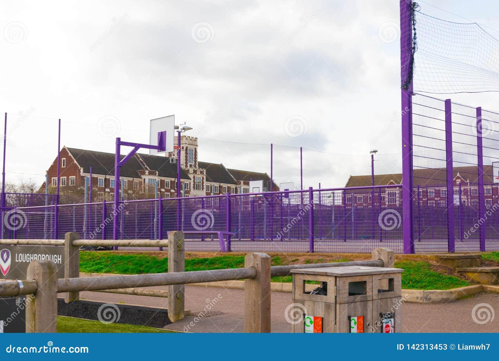Loughborough/het UK - 03 03 19: De sportgebieden van de Loughborough Universitaire Campus