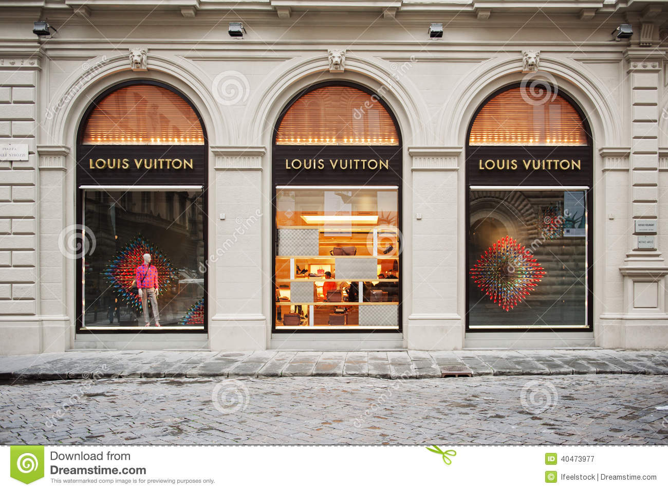 Louis vuitton store facade editorial photography image for Dream store firenze