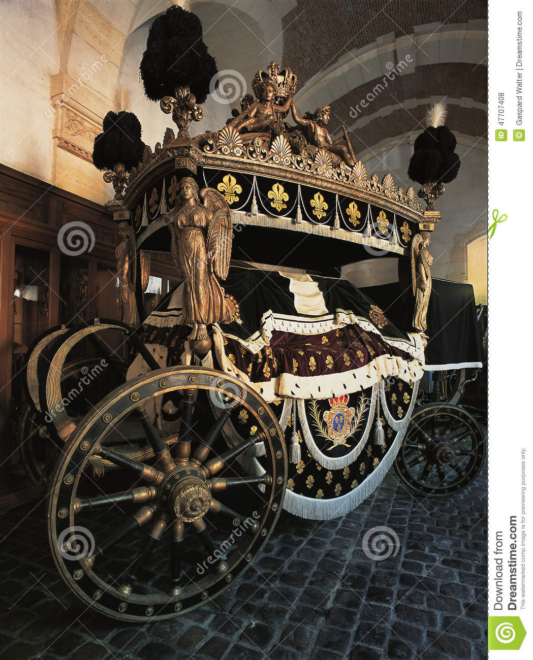 Louis XV funeral carriage at Versailles Palace