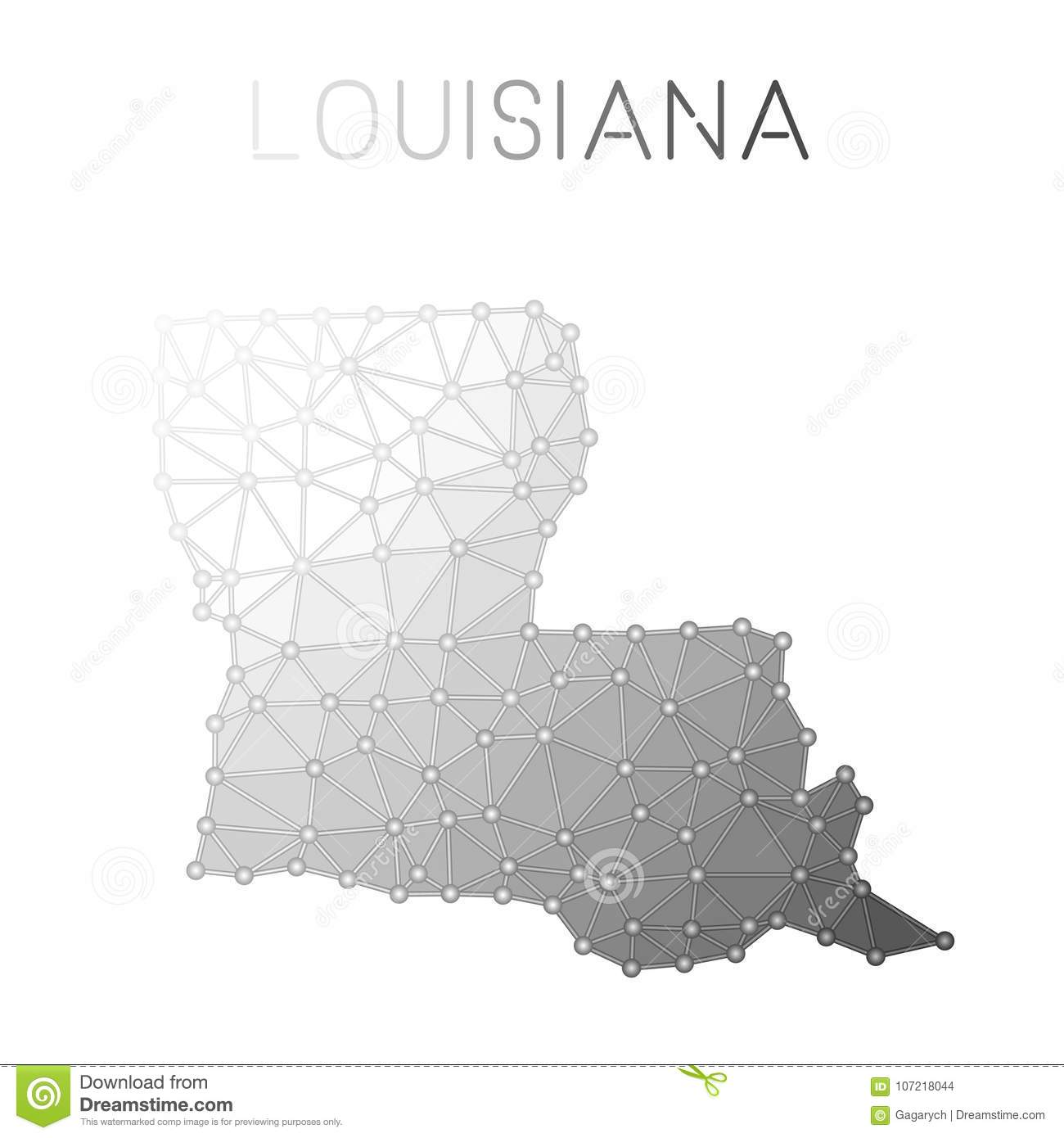 Louisiana Polygonal Vector Map. Stock Vector - Illustration of ...
