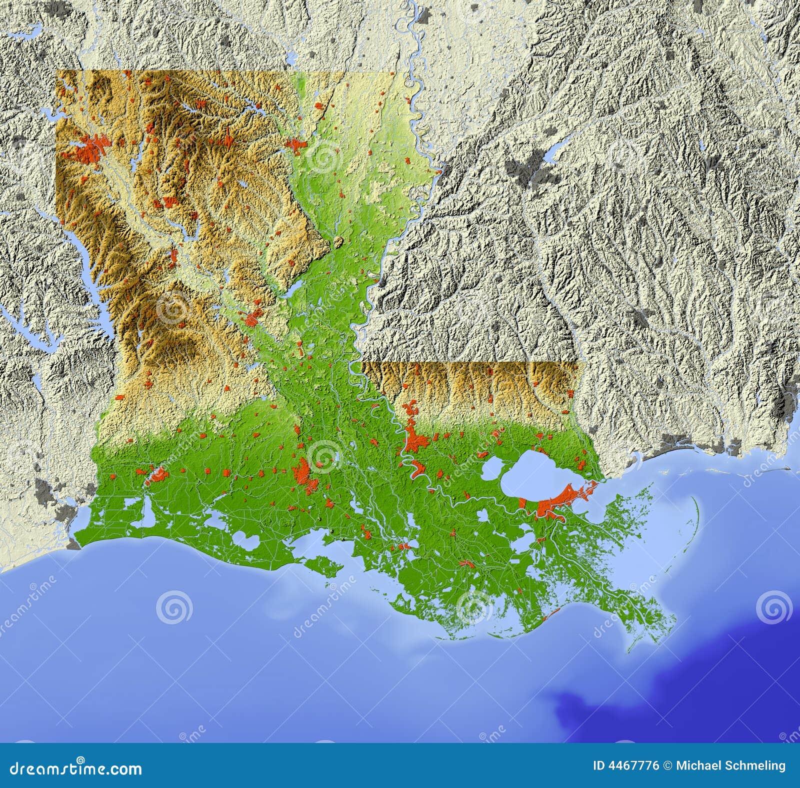 Louisiana relief map stock illustration Illustration of america