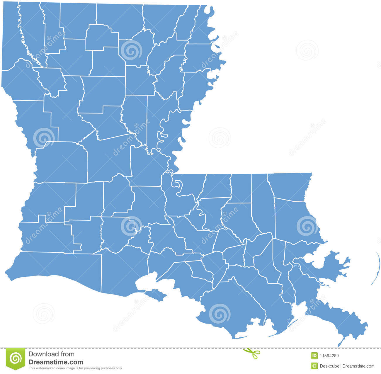 Louisiana State Map By Counties Royalty Free Stock Images Image - Louisana state map