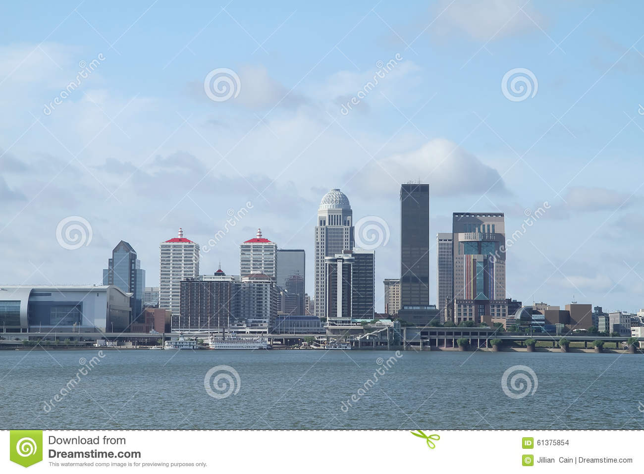 Louisville Kentucky daytime skyline as seen from across the Ohio River