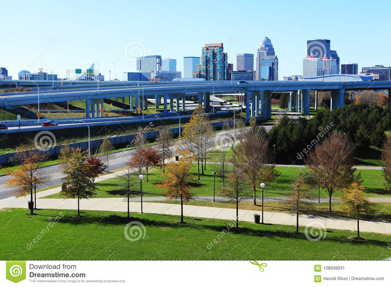 Louisville, Kentucky skyline with expressway in front