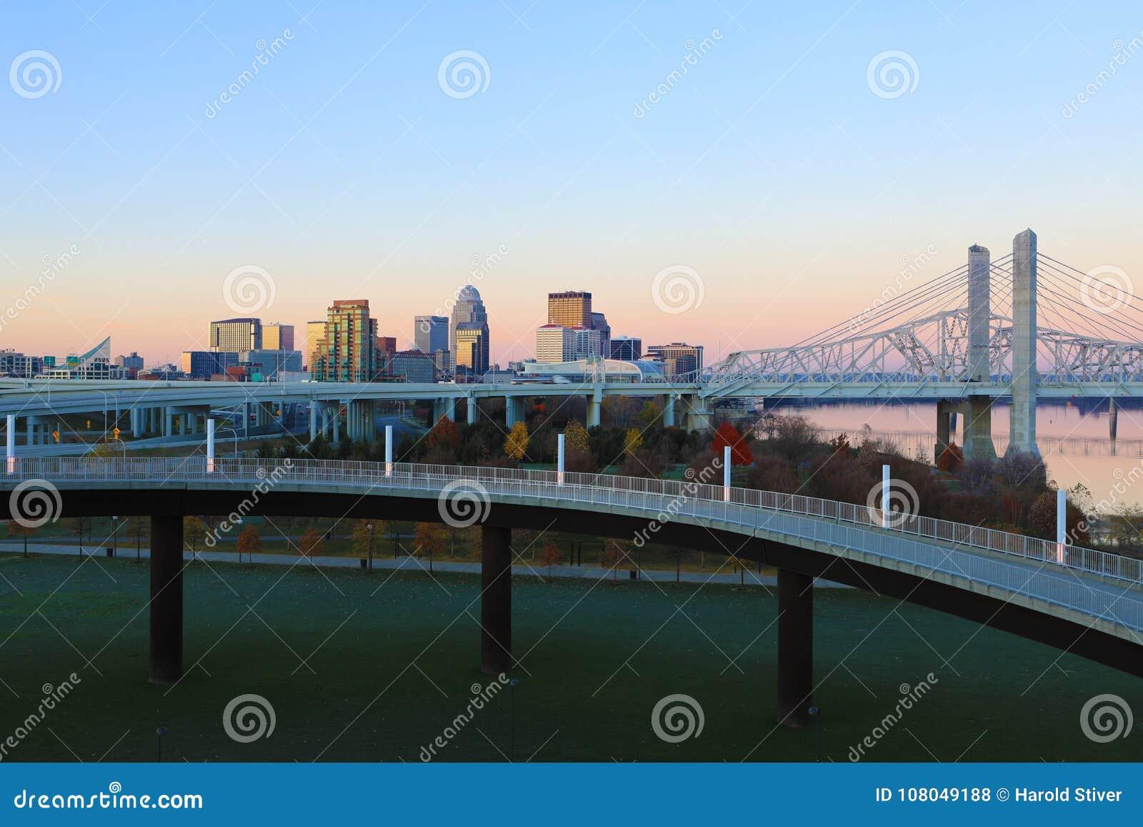 Louisville, Kentucky skyline at first light