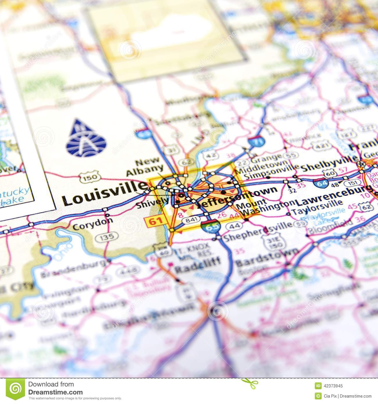 Louisville Map Stock Photo Image 42373945