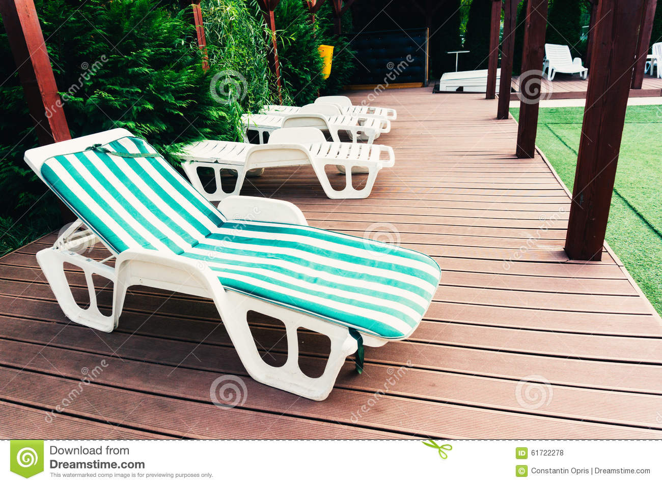 Lounge Chair On Deck Stock Photo Image 61722278