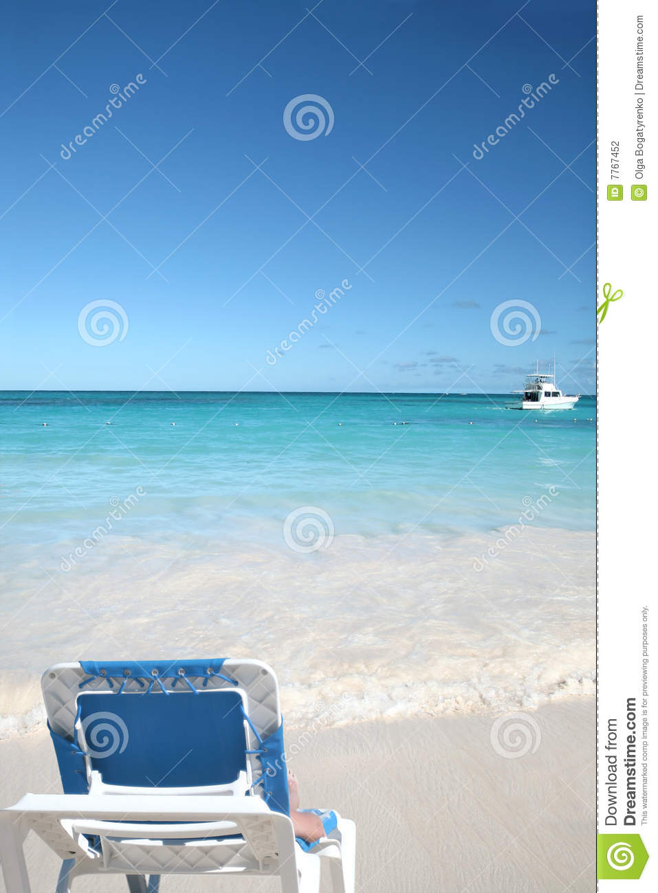 Fine Lounge Chair On White Sand Beach And Ocean Stock Photo Ocoug Best Dining Table And Chair Ideas Images Ocougorg