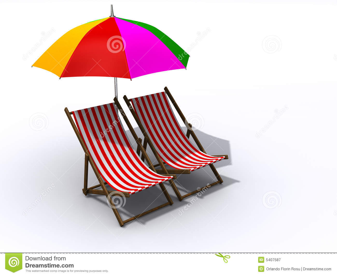 Lounge Chairs And Umbrella Royalty Free Stock graphy